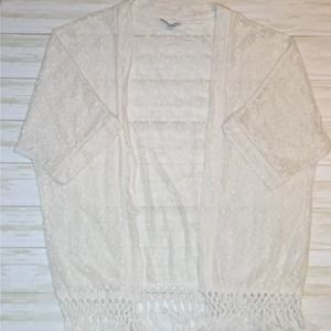 American Eagle XS Short Sleeve Open Lace Cardigan